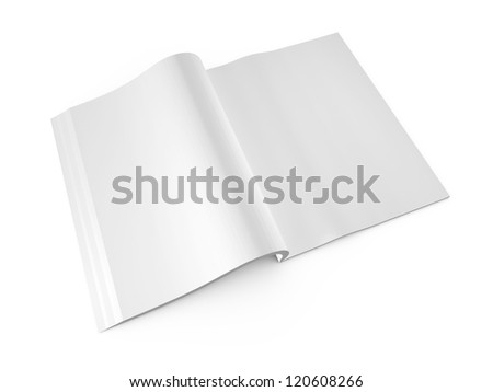 Open book, magazine with blank pages, isolated on white background.