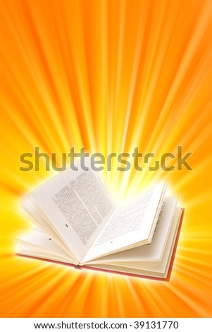 Open book on bright yellow and orange background.