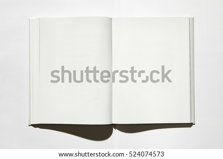 open book on white background, top. #524074573