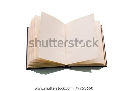 Open book over a white background