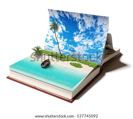Open book with a tropical beach inside. 3d concept