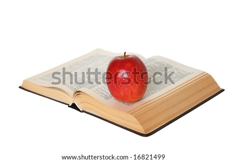 Open book with an apple isolated on white - stock photo