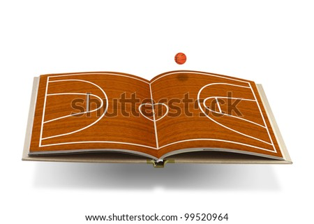 Open  book with  basketball court - stock photo