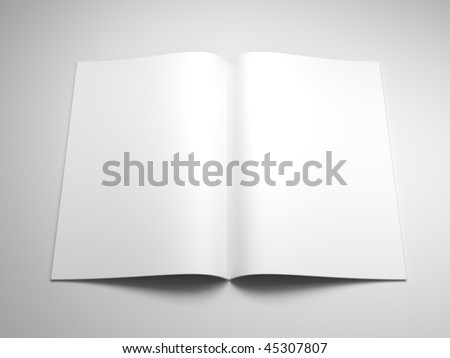 open book with blank pages 3d rendering - stock photo