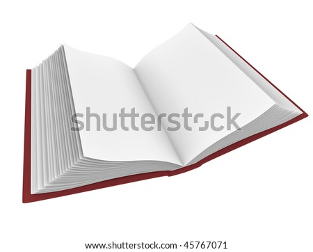 Open book with blank pages; high quality 3D rendered image.