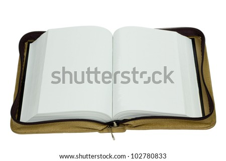 Open book with blank pages in zipped case isolated on white - stock photo