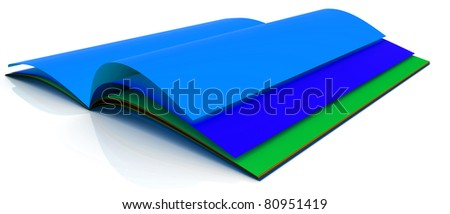 Open book with color pages. 3D Rendered.
