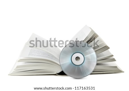 open book with compact disk on white background