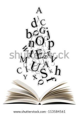 Open book with falling letters over white background