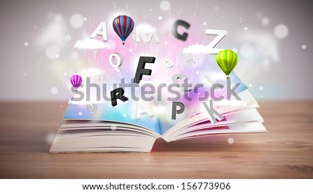Open book with flying 3d letters on concrete background. Colorful education concept