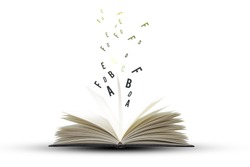 Open book with  flying  letters  on white background,education and book concept