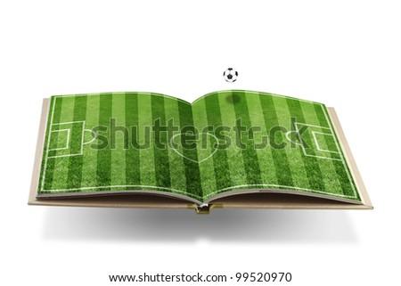 Open  book with  green grass soccer  stadium