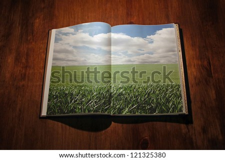 Open book with green landscape