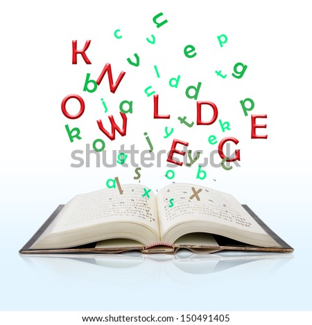 open book with knowledge text come out from it isolated on white background