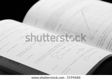 open book with maths and physics