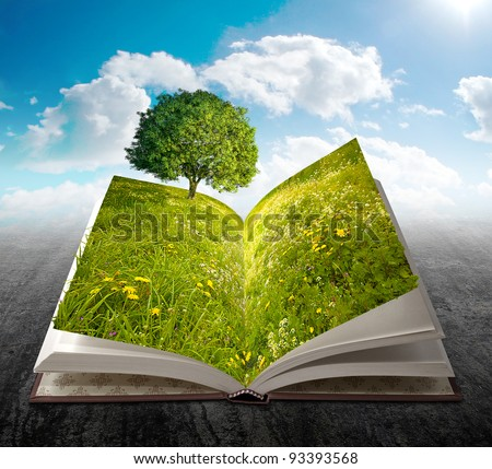 Open book with meadow, flowers and tree