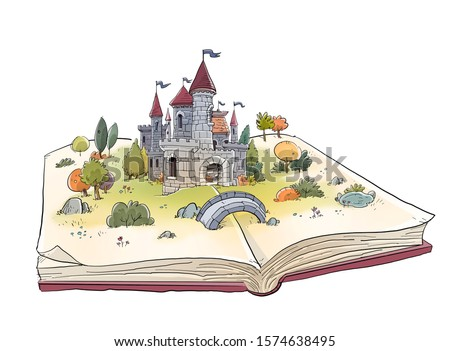 open book with medieval castle Foto stock ©