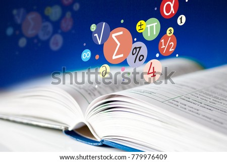 open book with pages - literature and education - mathematics textbook and math symbols