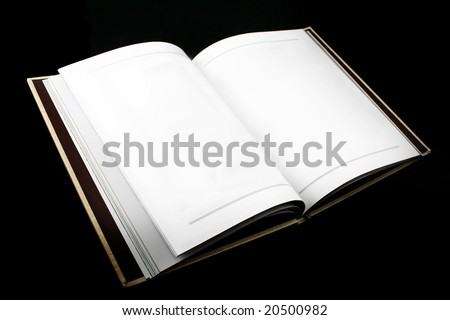 Open book with plain white pages