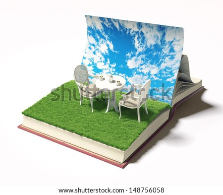 open book with table and chairs on the meadow. 3d concept