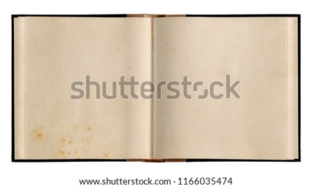 Open book with used paper pages isolated on white background