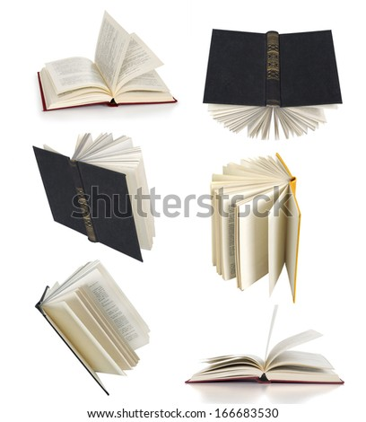 open books collection isolated on white