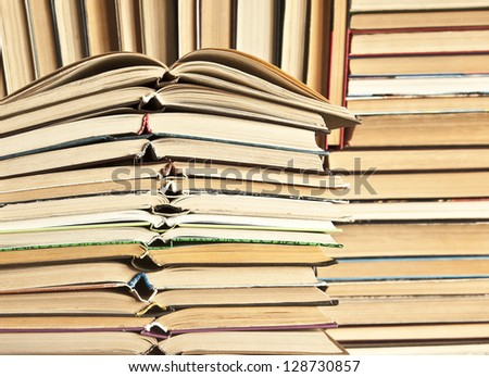 open books in a library