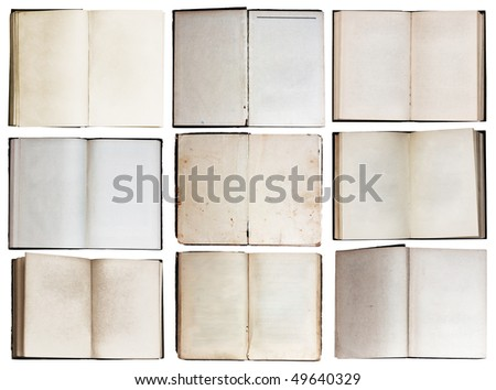 open books set isolated on white background with clipping path
