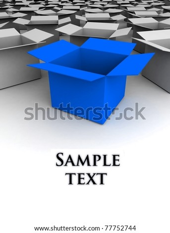 Open box isolated on white. 3d illustration