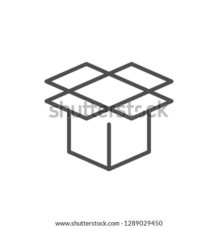 Open box line icon isolated on white