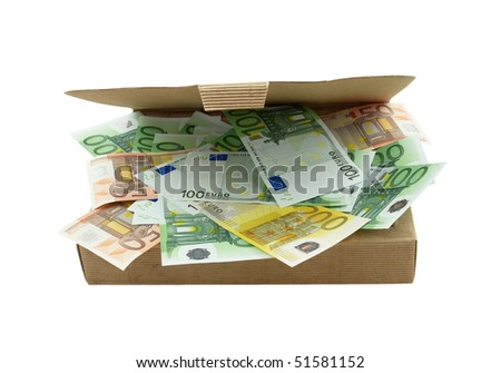 Open box made from corrugated cardboard with euro banknotes, isolated on white background