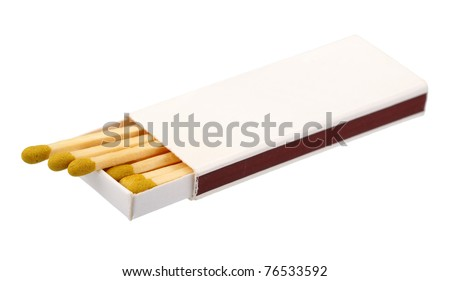 Open box of matches, isolated on a white background