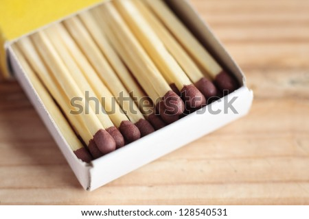 Open box of safety matches on a wooden surface