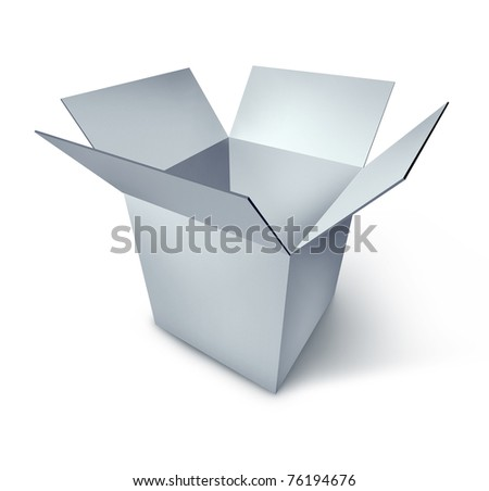 Open box representing the symbol of opportunity and new start made of white b lank cardboard.