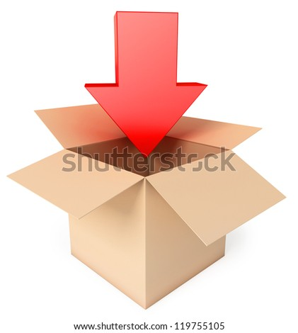 Open box with arrow. Isolated on white background. 3d render