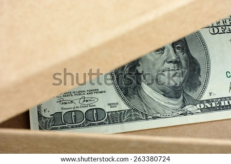Open box with one hundred dollars banknote in it. Conceptual image.