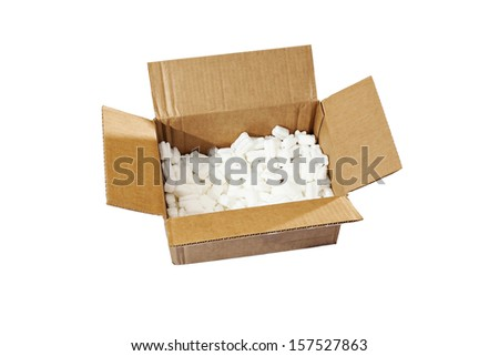 open box with packing 'peanuts' inside on the white background
