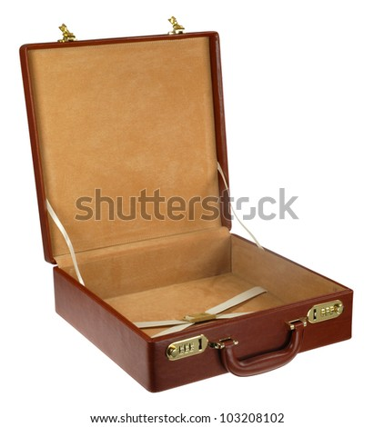 open brown leather briefcase isolated on white