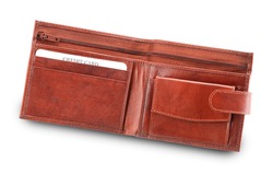 Open Brown Leather Wallet