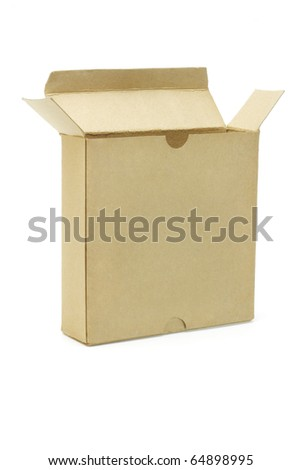 Open brown paper box on white background - stock photo