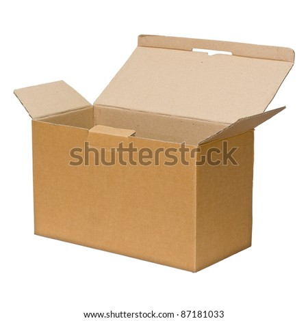 Open brown paper box on white with Background