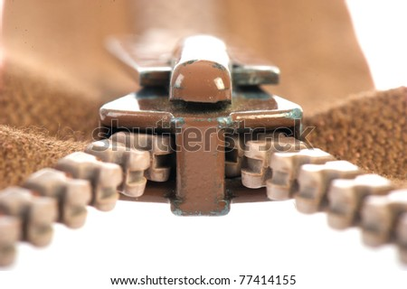 Open brown zipper isolated on white background
