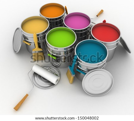 open buckets with a paint brush and rollers 3D illustration on white background