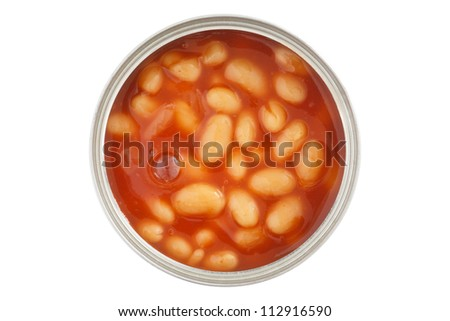 Open can of baked beans shot from above isolated on white