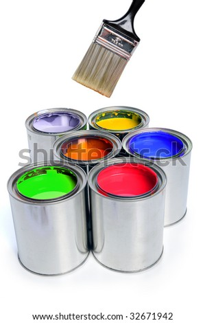 Open cans of paint with clean brush isolated over white background