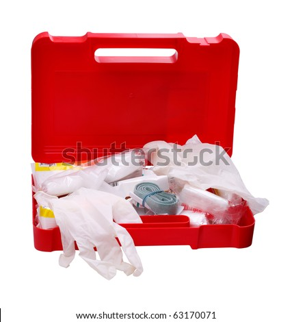 Open car first aid kit isolated on a white background
