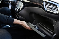 Open Car Glove Compartment Box With Documents