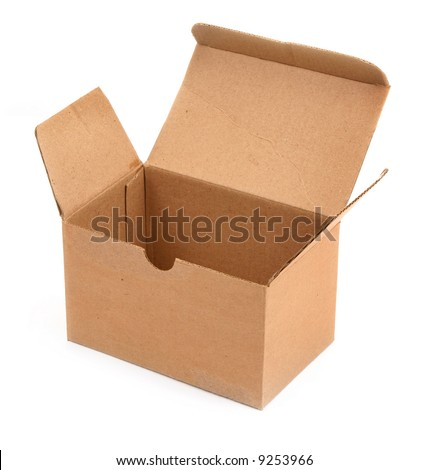 open cardboard box against white background, minimal shadow in front