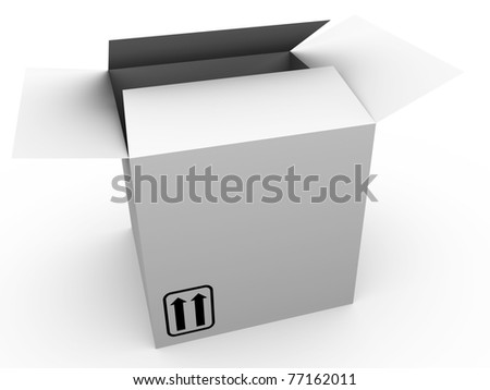 Open cardboard box in white. This side up