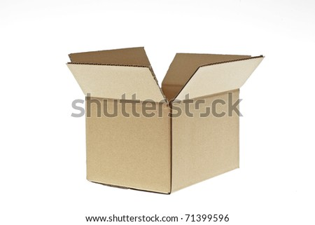 open cardboard box isolated